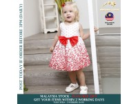 Toddler Girls Dress Floral Red White Neck-O Casual Dance Sleeveless