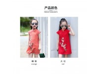 CNY Girls Chinese Style Embroidered Cheongsam Lace Dresses Traditional Wear