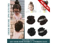 Baby Girl Hair Piece Bun like Wig Extensions Clip Cute Donut BLACK or DARK BROWN