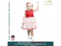 Kids Cute RED Floral Dress with Ribbon & Flower Lace for Girls Birthday Party