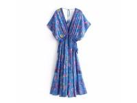 Peacock Positioning Print Long Dress Sleeveless Maxi Elegant Casual Swing Beach