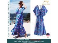 Long Dress Flower Bohemian Retro Maxi Sexy Ethnic Deep V-neck Floral Print Beach Dresses - BLUE - Dress Wanita Berbunga