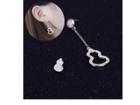 925 Sterling Silver Lucky Gourd Asymmetric Earrings For Women Chinese Style