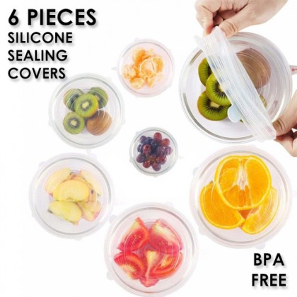 SAFE 6 Piece of Silicone Sealing Stretch Lids Covers, BPA Free Food Bowl Cup Lid