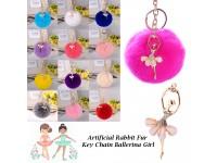 Ballet Girl Pom Pom Keychain Faux Fluffy Puff Ball Pendants Golden Angel Women