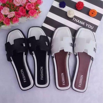 Women Casual H Shaped Fashion Sandals - Slip On Beach Foot Slippers - Flat Shoes