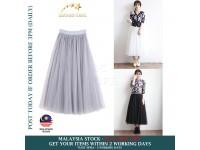 A-Line High Waist Women Elastic Mesh Tutu 3 Layer Tulle Gauze Loose Long Skirt