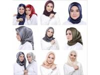 Women Scarf Satin Plain Print Square Ladies Office Headwear 90cm*90cm