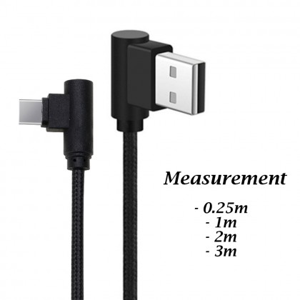 Type C 25cm/1M/2M/3M Braided 90 Degree Angle Fast Charge USB Cable Android Game
