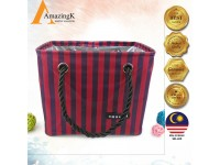 Waterproof Stripe Bath Basket Style Fordable Travel Bag Snack and Toy Storage