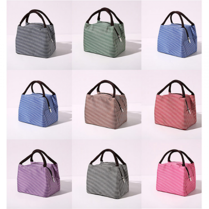 Mini Portable Stripe Insulated Lunch Bag for Picnic Travel Outdoor Activities School Office